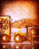 Golden presents Royalty Free Stock Photography