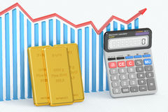 Golden price concept, chart with calculator and gold bars. 3D re. Golden price concept, chart with calculator and gold bars Royalty Free Stock Images