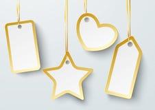Golden Price Sticker Heart Star 2 PiAd Stock Images