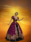 Golden Princess. A 3D rendered image of a beautiful princess with an evening dress in the afternoon sun stock illustration