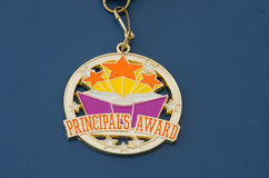 Golden principal's award medal Royalty Free Stock Photography