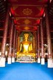 Golden principle buddha image. In thai call Pang Marnvichai, this is thai sixth month buddha image stock images