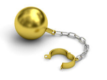 Golden prison shackle with chain on white background Royalty Free Stock Photography