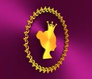 Golden profile of princess or queen Royalty Free Stock Photos