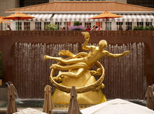 Golden Prometheus statue Royalty Free Stock Image