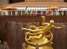Golden Prometheus statue at the Rockfeller Center Stock Photos