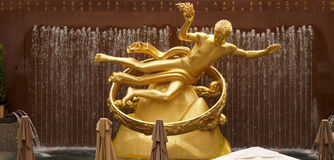 Golden Prometheus statue at the Rockfeller Center Stock Image