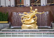 Golden Prometheus statue at the Rockfeller Center Royalty Free Stock Photography