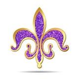 Golden and purple fleur-de-lis royalty free illustration