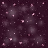 Golden Purple Snow Stars 2016. The winter background, falling snowflakes Royalty Free Stock Image