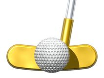 The Golden Putt. Golden putter and golf ball isolated on white Royalty Free Stock Photography