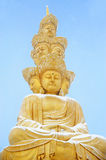Golden Puxian Buddha at mt emei with snow Stock Image