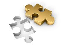 Golden puzzle. 3d rendered illustration Stock Images