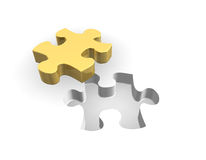 Golden Puzzle 3D Royalty Free Stock Photography