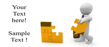 Golden puzzle. 3d business man with golden pieces of puzzle Royalty Free Stock Photography