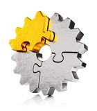 Golden puzzle gear Royalty Free Stock Photo