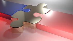 Golden puzzle joins blue and pink puzzle pieces - 3D rendering Royalty Free Stock Photo