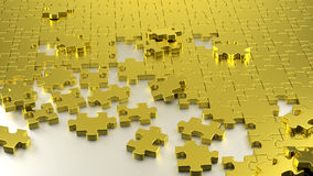 Golden puzzle maze together. Royalty Free Stock Images