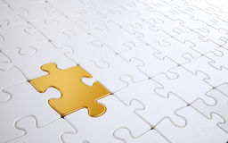 Golden puzzle piece. 3D illustration Royalty Free Stock Image
