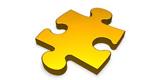 Golden puzzle piece Stock Photos