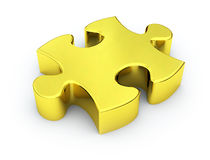 Golden Puzzle Piece. A conceptual image based on the idea that some solutions are solid as gold and equally as valuable Stock Photo