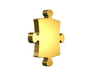 Golden puzzle piece, 3D rendering Royalty Free Stock Photos
