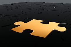 Golden puzzle piece - make the difference Royalty Free Stock Photography