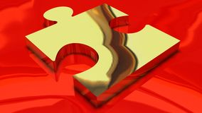 Golden puzzle piece red background Royalty Free Stock Images