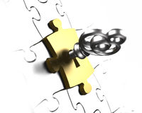 Golden puzzle piece with treasure key 3D rendering Royalty Free Stock Photography