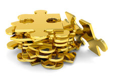 Golden puzzle pieces. 3D golden stacked JigSaw puzzle pieces with metallic luster stock illustration