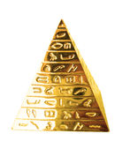 Golden pyramid. With hieroglyphs on a white background royalty free stock image