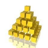 Golden pyramid. 3d golden pyramid with square base on white background Stock Images