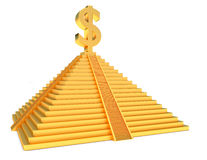 Golden pyramid dollar. Golden pyramid and gold dollar symbol over white Stock Images