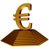 Golden pyramid and euro symbol. Isolated on the whiote backgruond Stock Photography