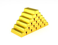Golden pyramid gold bars stairs Stock Images