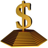 Golden pyramid and gold dollar symbol Royalty Free Stock Photos