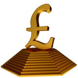 Golden pyramid and gold pound sterlings sign Stock Image