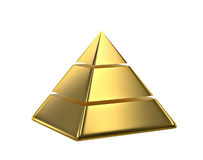 Golden pyramid. Isolated on white. 3D rendering Stock Image