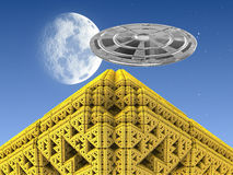 Golden Pyramid with UFO Royalty Free Stock Images