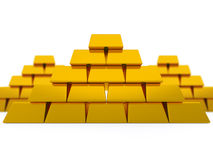 Golden pyramids. Render of isolated golden ingots Vector Illustration