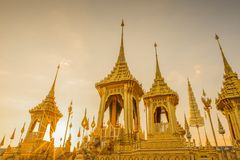 Exhibition of the Royal Crematorium for His Majesty the late King Bhumibol Adulyade at Sanam Luang,Bangkok,Thailand. Golden Pyre, statues and decorations at the Royalty Free Stock Photos