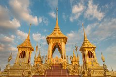 Exhibition of the Royal Crematorium for His Majesty the late King Bhumibol Adulyade at Sanam Luang,Bangkok,Thailand. Golden Pyre, statues and decorations at the Royalty Free Stock Images
