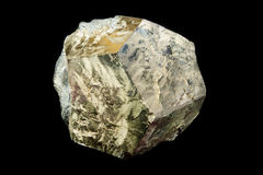 Golden pyrite crystal. Dodecahedron shaped crystal of pyrite from Rio Marina, Italy Stock Photo