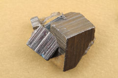 Golden pyrite cubes Stock Image