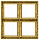 Golden quadruple frame. Isolated on pure white background Stock Photos