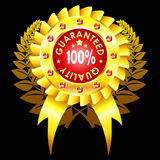 Golden quality badge with ribbon. And jewels Stock Photography