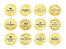Golden Quality Guarantee Badges. 12 Golden Premium high quality money back guarantee badges stock illustration