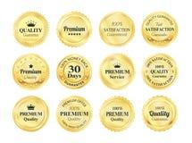 Golden Quality Guarantee Badges. 12 Golden Premium high quality money back guarantee badges Royalty Free Stock Image