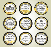 Golden Quality Guarantee Badges. 9 Golden Premium high quality money back guarantee badges Royalty Free Stock Image