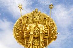 Golden Quan Yin Thousand Hands Statue Stock Photos